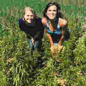 Kentucky Hempsters co-founders Kirstin Bohnert and Alyssa Erickson in Finola hemp field in Owensboro, Kentucky.