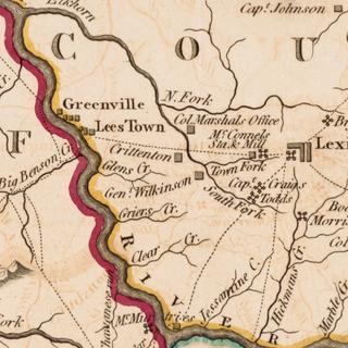 1793 Kentucky Map Showing Leestown Settlement