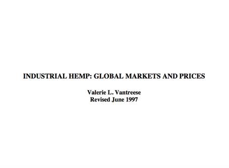 1997 | University of Kentucky publishes hemp study: Global Markets & Prices