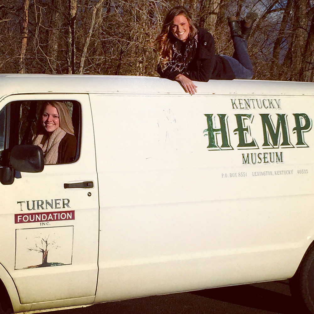 Kentucky Hempsters co-founders Alyssa Erickson and Kirstin Bohnert with the Kentucky Hemp Museum Van in January 2015.