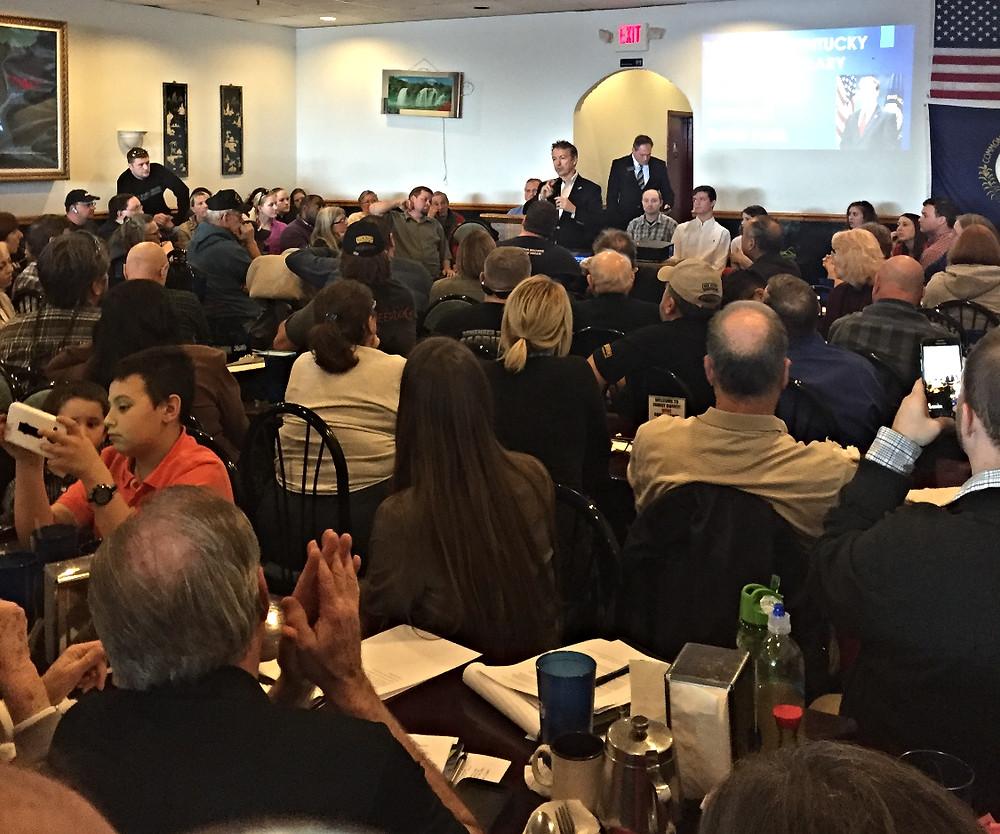 Senator Rand Paul (R-KY) address crowd at Take Back Kentucky meeting in Elizabethtown.