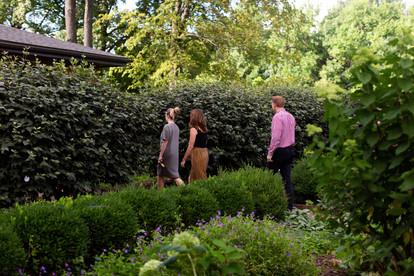 2019 Farmington Hemp Dinner: Guests Arriving at historic Farmington mansion from the garden