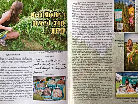Kentucky Hempsters featured on cover of Shelby County Life Magazine