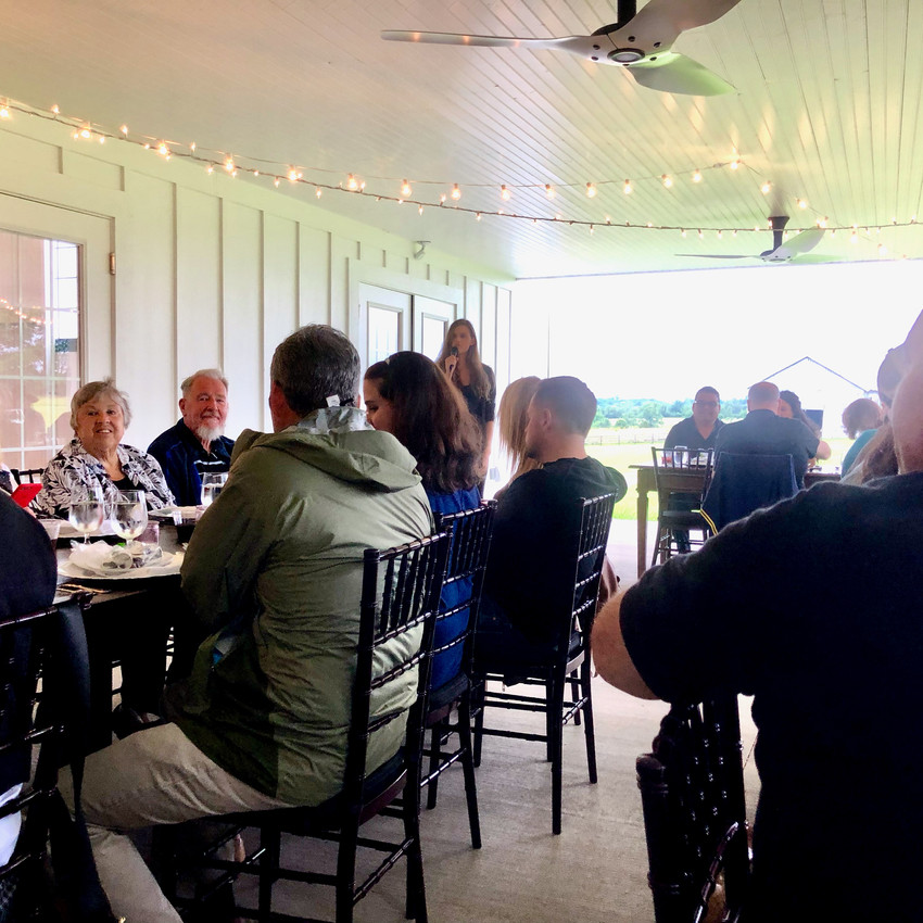 Heritage Hemp Trail co-founder Alyssa Erickson speaking at the Kentucky Hemp Days Dinner at Ashford Acres Inn in Cynthiana, Kentucky.