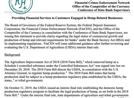 Federal Banking Agencies Issue Guidance for Providing Financial Services to Hemp-Related Businesses