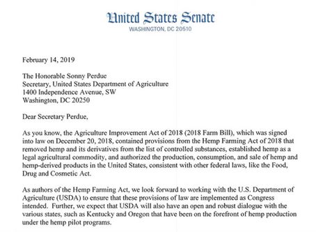 Senators urge USDA to expedite implementation of Hemp Farming Act