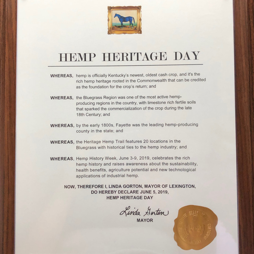 The Hemp Heritage Day proclamation from Mayor Gorton's Office presented during the Ashland/BGT deTour in Lexington, Kentucky.