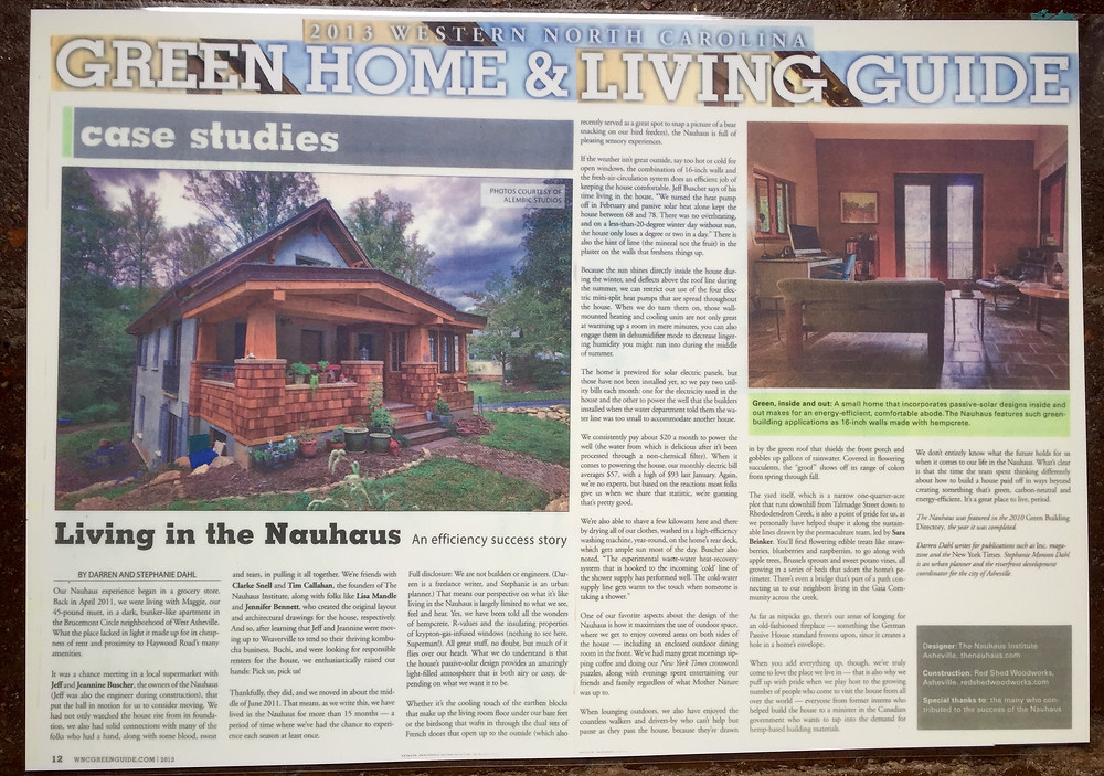 Asheville's Green Home & Living Guide on display in the house featuring The Nauhaus and it's history.