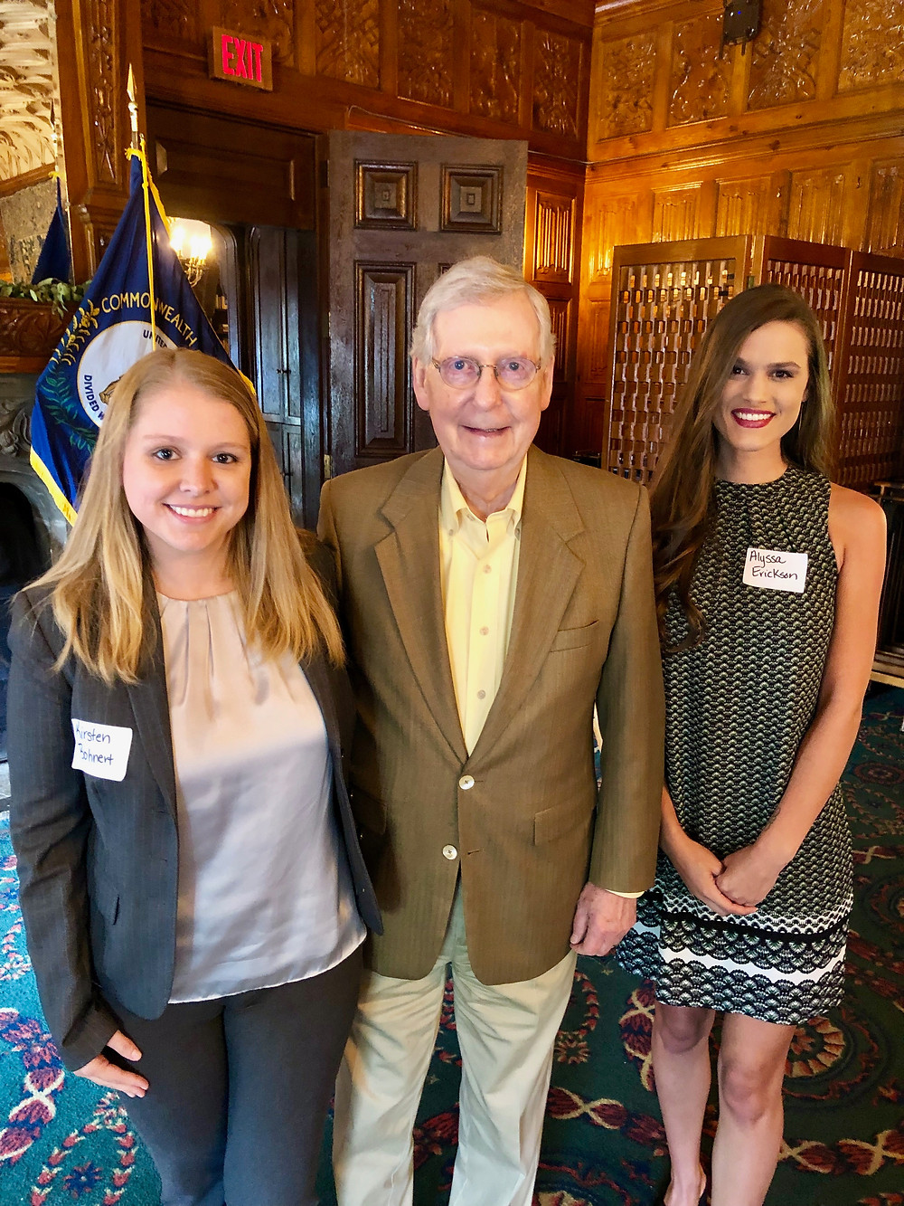 Kentucky Hempsters co-founders Kirstin Bohnert (left) and Alyssa Erickson (right) with Senator McConnell (R-KY) at the Hemp Roundtable with USDA Secretary Sonny Perdue on July 2, 2019 in Lexington, Kentucky.