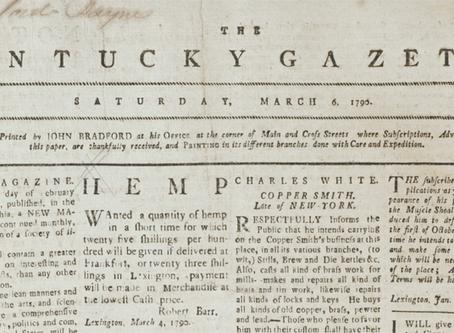 1788 | Kentucky paper advertises hemp