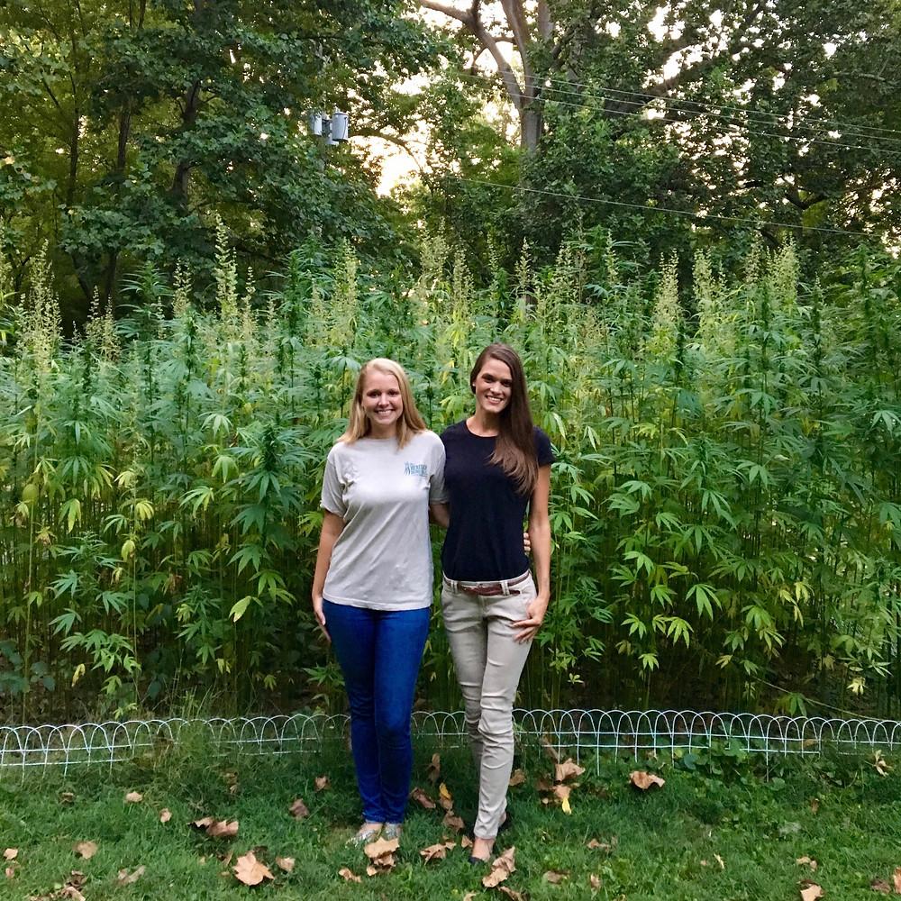 Kentucky Hempsters co-founders Kirstin Bohnert and Alyssa Erickson at historic hemp plot at Ashland, the Henry Clay Estate in Lexington (Summer 2017).