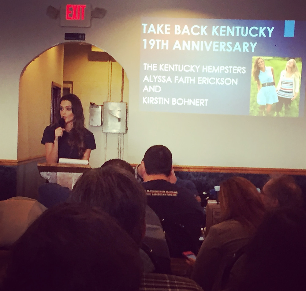 Kentucky Hempsters co-founder Alyssa Erickson talks Kentucky hemp at Take Back Kentucky meeting in Elizabethtown.