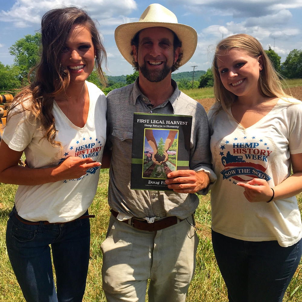 Kentucky Hempsters Alyssa Erickson and Kirstin Bohnert with Doug Fine and a copy of his newly released First Legal Harvest. - May 30, 2015