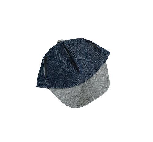 Casquette en jean et visière grise - accessoire pour peluches de 40 cm