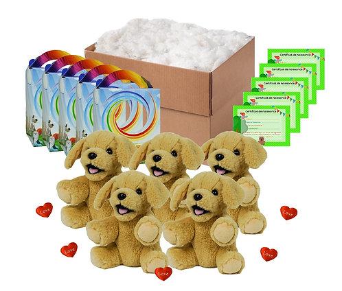 Pack anniversaire labradors beiges de 20 cm
