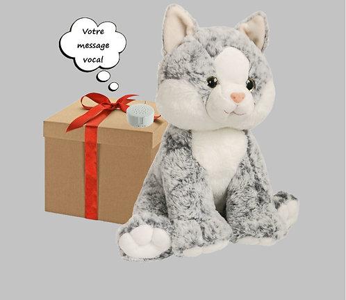 Peluche avec son enregistrable - Chat gris en peluche de 40 cm