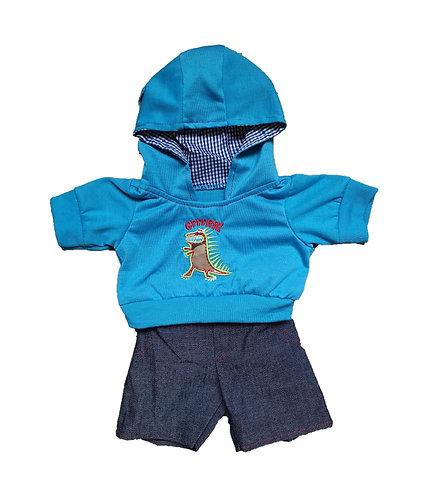 Sweat bleu à capuche et jean - vêtements pour peluche de 40 cm