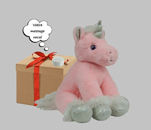 Peluche avec son - licorne rose - 40 cm