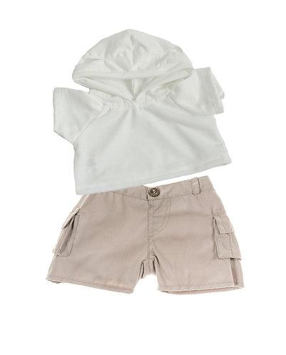 Sweat blanc à capuche et bermuda beige - vêtements pour peluche de 40 cm