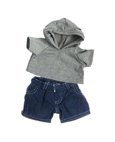 Sweat gris à capuche et jean - vêtements pour peluche de 40 cm