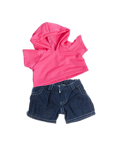 Sweat rose à capuche et jean - vêtements pour peluche de 40 cm