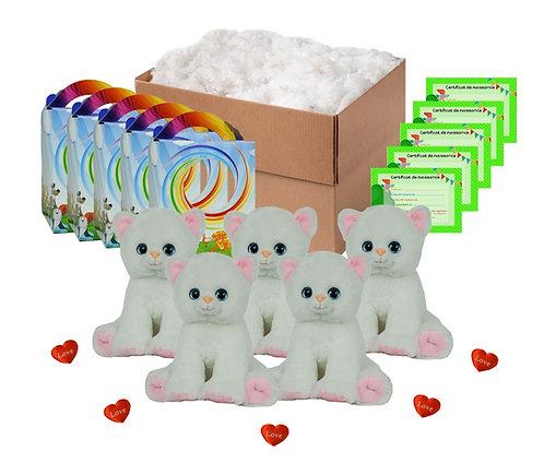Pack anniversaire chatons blancs de 20 cm