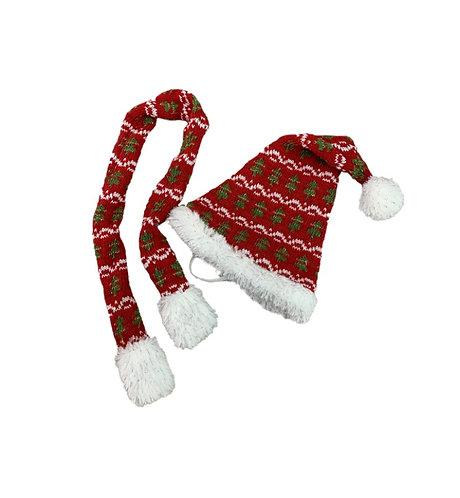 Bonnet et écharpe rouges à pompons - vêtements pour peluche de 20 cm