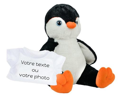 Peluche avec T-shirt personnalisé - Pingouin en peluche de 40 cm