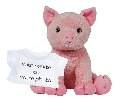 Peluche avec T-shirt personnalisé - Cochon en peluche de 40 cm