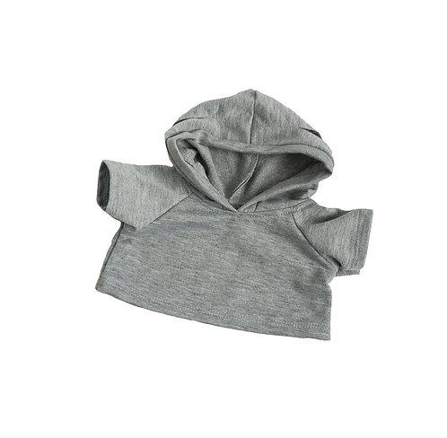 Sweat gris à capuche - vêtement pour peluche de 40 cm