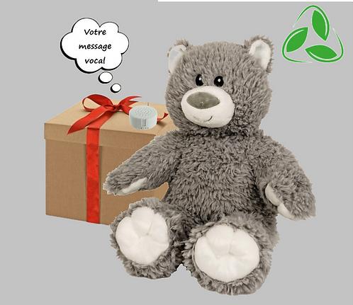Peluche écologique avec son enregistrable - Ours gris en peluche de 40 cm