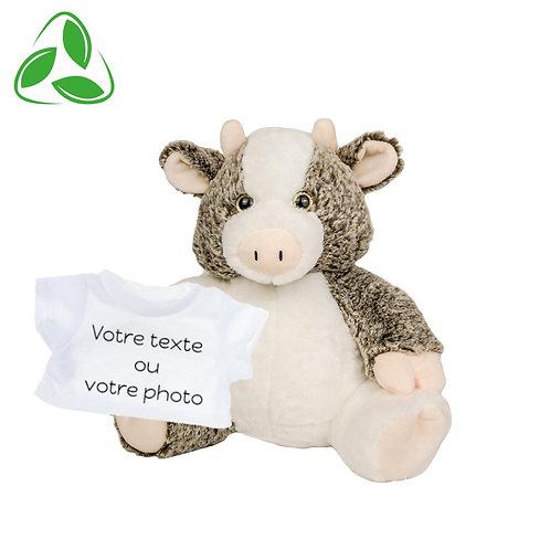 Peluche écologique avec T-shirt personnalisé - Vache en peluche de 40