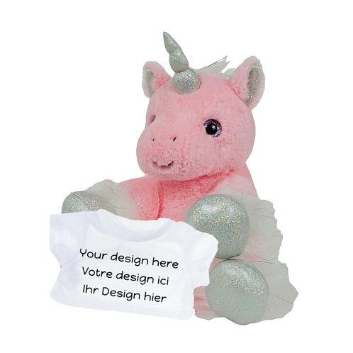 Peluche avec T-shirt personnalisé - Licorne rose en peluche de 20 cm