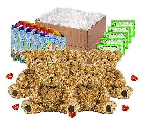 Pack anniversaire ours bouclés beiges de 40 cm