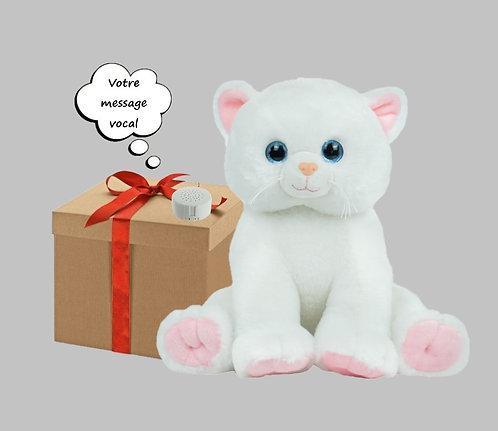 Peluche avec son - Chat blanc - 40 cm