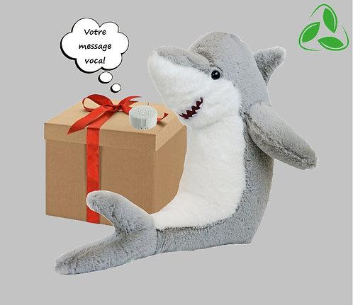 Peluche écologique avec son enregistrable - Requin en peluche de 40 cm
