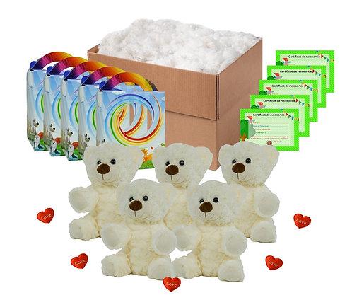 Pack anniversaire ours bouclés blancs de 20 cm