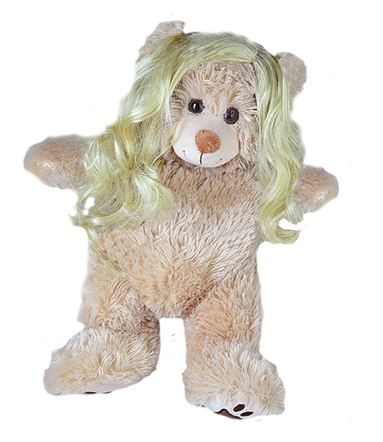 Perruque blonde cheveux longs - pour peluches de 40 cm