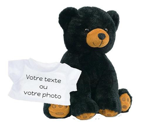 Peluche avec T-shirt personnalisé - Ours noir en peluche de 40 cm