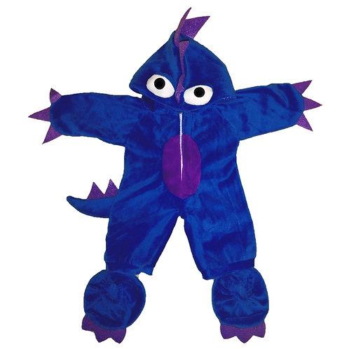 Costume de monstre bleu et violet - vêtement pour peluche de 40 cm