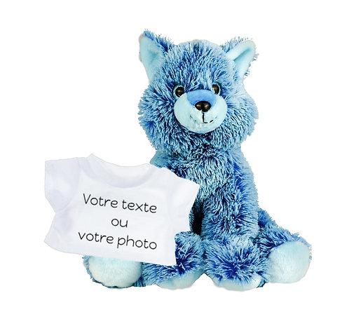 Peluche avec T-shirt personnalisé - Renard bleu en peluche de 40 cm