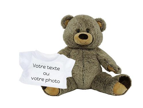 Peluche avec T-shirt personnalisé - Grizzly en peluche de 40 cm