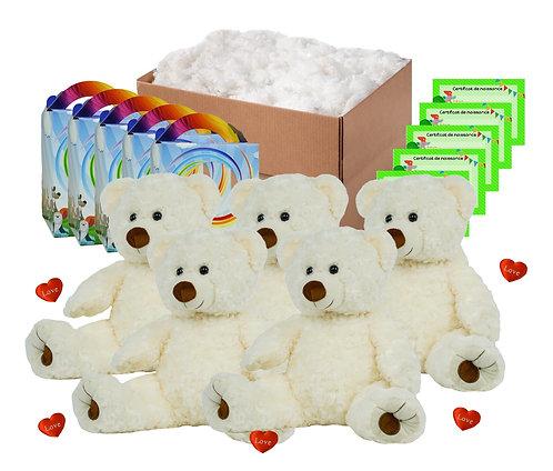 Pack anniversaire ours bouclés blancs de 40 cm