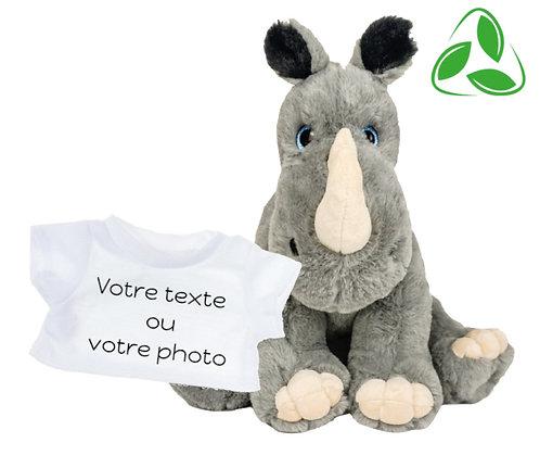 Peluche avec T-shirt personnalisé - Rhinocéros en peluche écologique de 40 cm