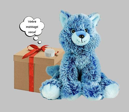 Peluche avec son enregistrable - Renard bleu de 40 cm