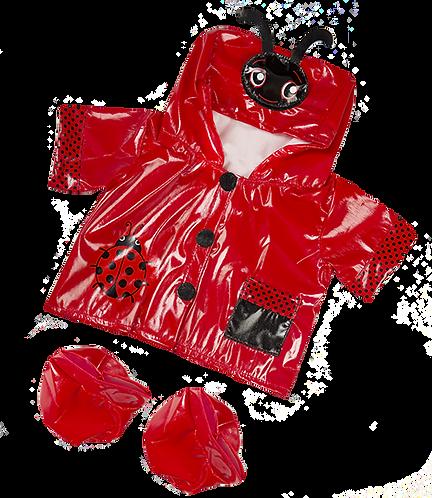 Ciré rouge coccinelle - vêtement pour peluche de 20 cm