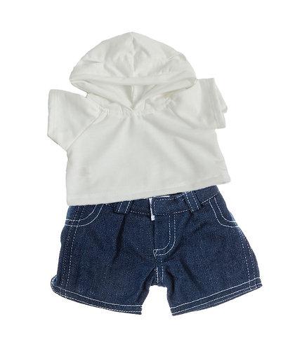 Sweat blanc à capuche et jean - vêtements pour peluche de 40 cm