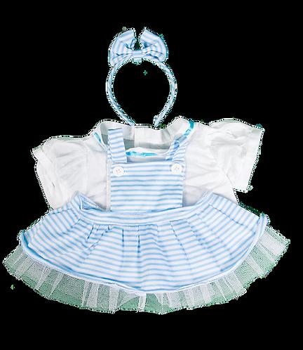 Robe tablier rayée bleue et chemisier - vêtements pour peluche de 20 cm