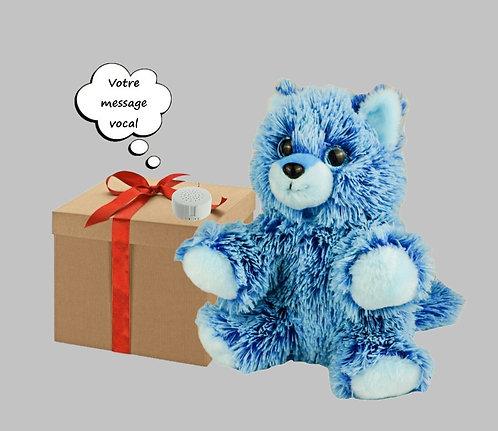 Peluche avec son - Renard bleu - 20 cm