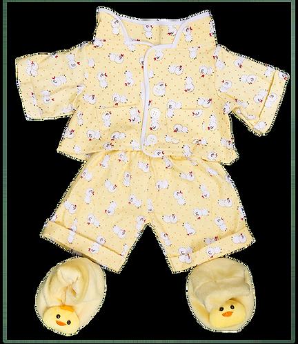 Pyjama jaune poussin avec chaussons - vêtement pour peluche de 20 cm